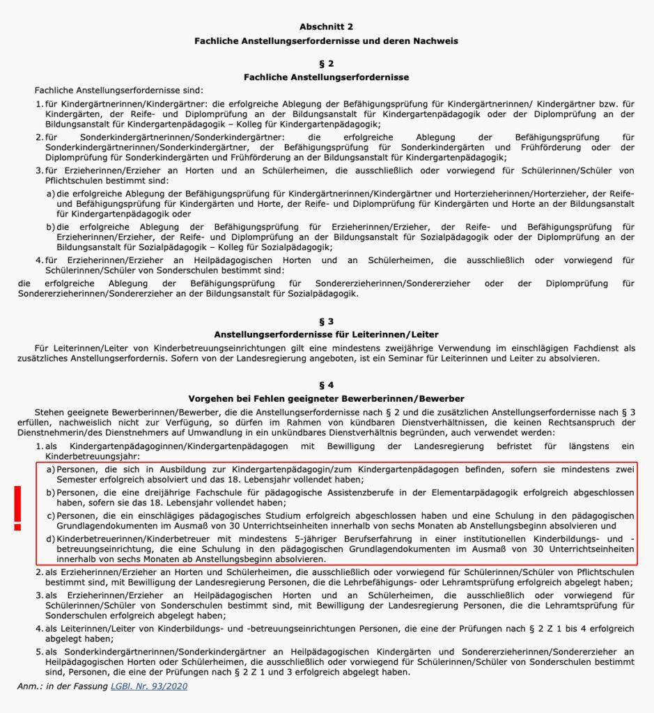 Gesetz über die fachlichen Anstellungserfordernisse für Kindergärtnerinnen/Kindergärtner (...) in der Steiermark