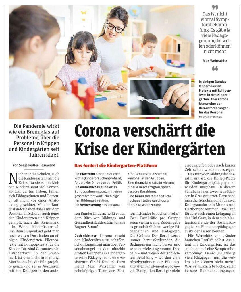 Corona verschärft die Krise der Kindergärten (Kleine Zeitung, 12.4.2021)