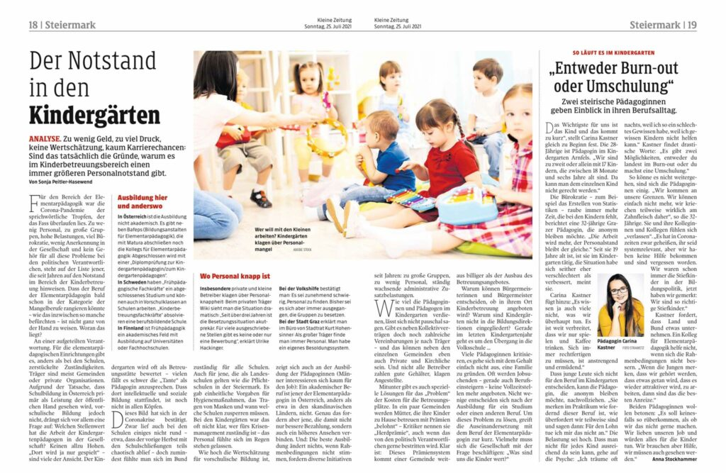Der Notstand in den Kindergärten (Kleine Zeitung, 25.7.2021)