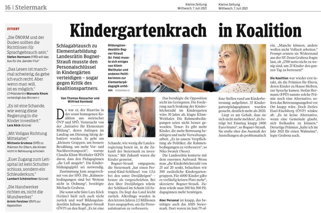 Kindergartenkrach in Koalition (Kleine Zeitung, 7.7.2021)